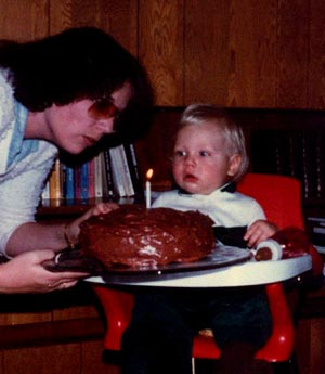 Adam Kavelman's first birthday (with his mom, Sue)