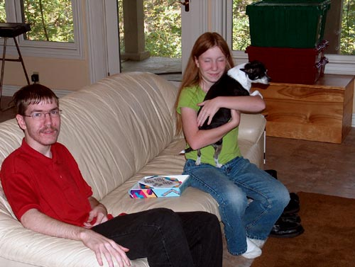 Jason Moody with his sister Bonnie and dog Dixie
